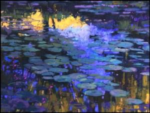 Lily Pads sur Ciel Bleu, by Terri Ford