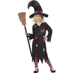 Costume enfant petite sorcière robe noire - maquillage