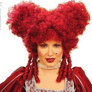 Perruque reine baroque rouge