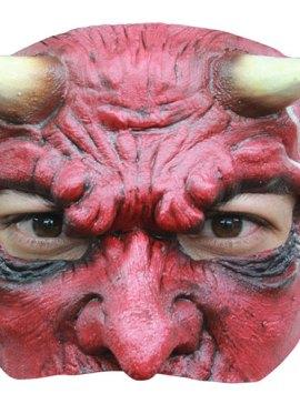 Demi masque diable rouge latex adulte