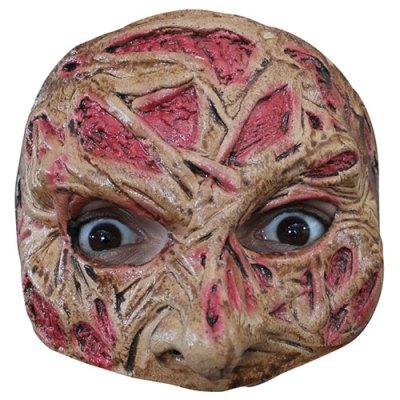 Demi masque visage brûlé latex adulte
