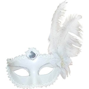 Loup marquise blanche plume