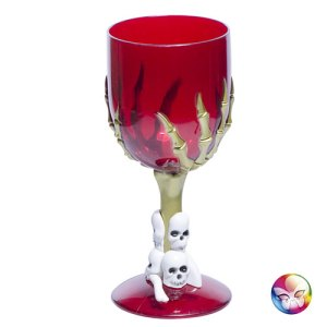 Verre gothique rouge pied squelette