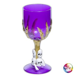 Verre gothique violet pied squelette