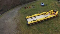 safety sled - bankside safety - filming - rescue sled - water safety and rescue - location safety ltd