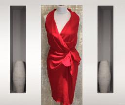 robe courte Crêpe de soie fuschia drapée une robe a paris