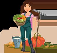 Agricultrice et ses légumes