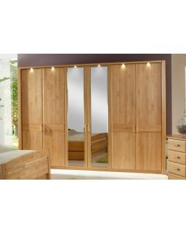 armoire lausanne portes miroir et chene massif 300 217 66cm direct usine