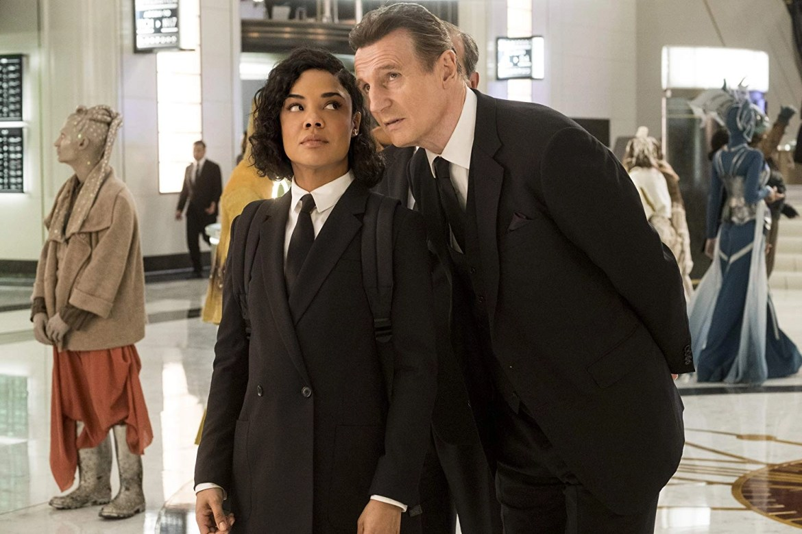 Liam Neeson and Tessa Thompson in Men in Black International (2019