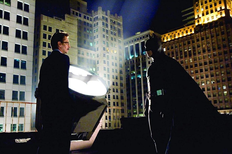 Gary Oldman and Christian Bale in Batman Begins (2005)