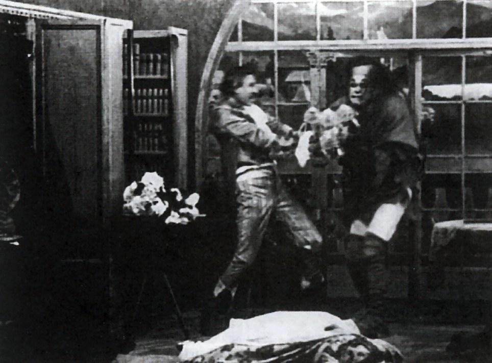 Mary Fuller, Charles Ogle, and Augustus Phillips in Frankenstein (1910)