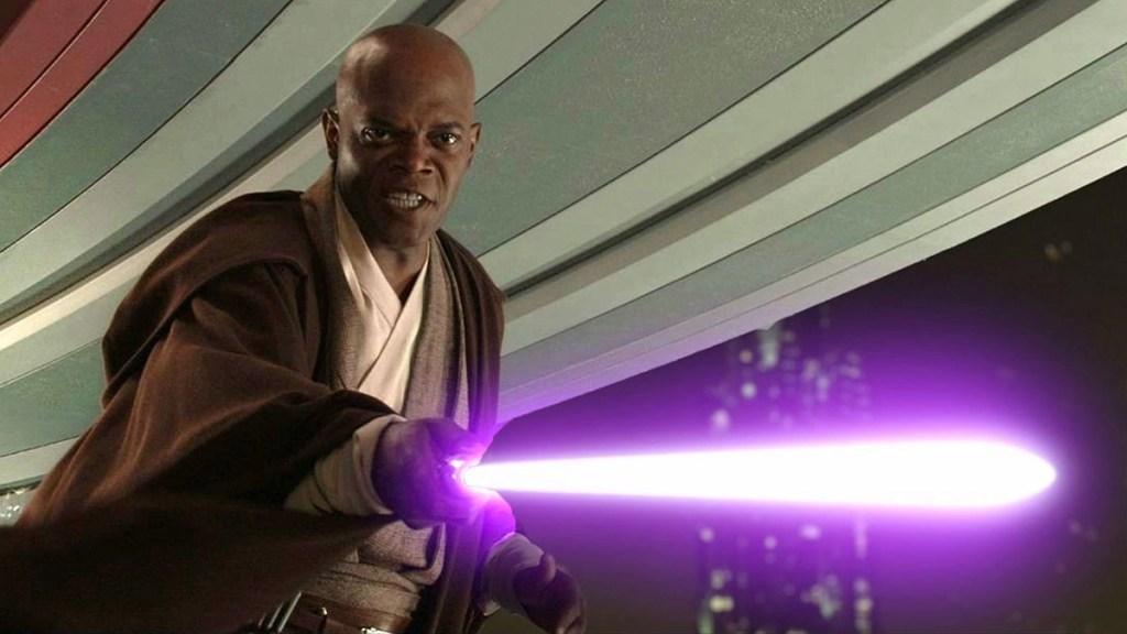 Samuel L. Jackson che interpreta Mace Windu