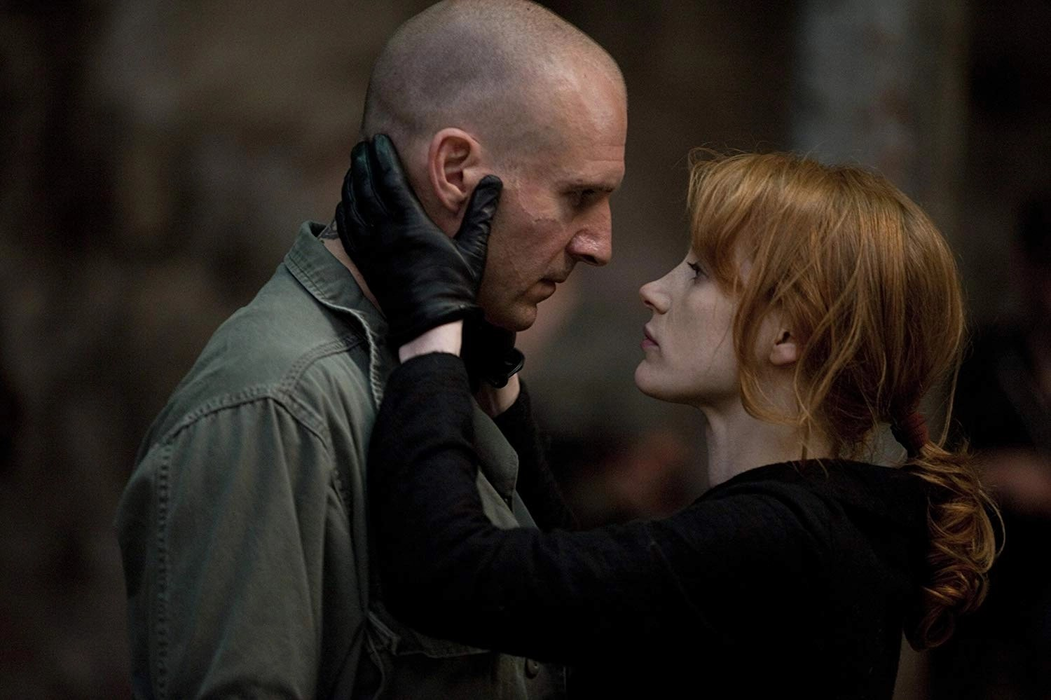 Ralph Fiennes and Jessica Chastain in Coriolanus (2011)