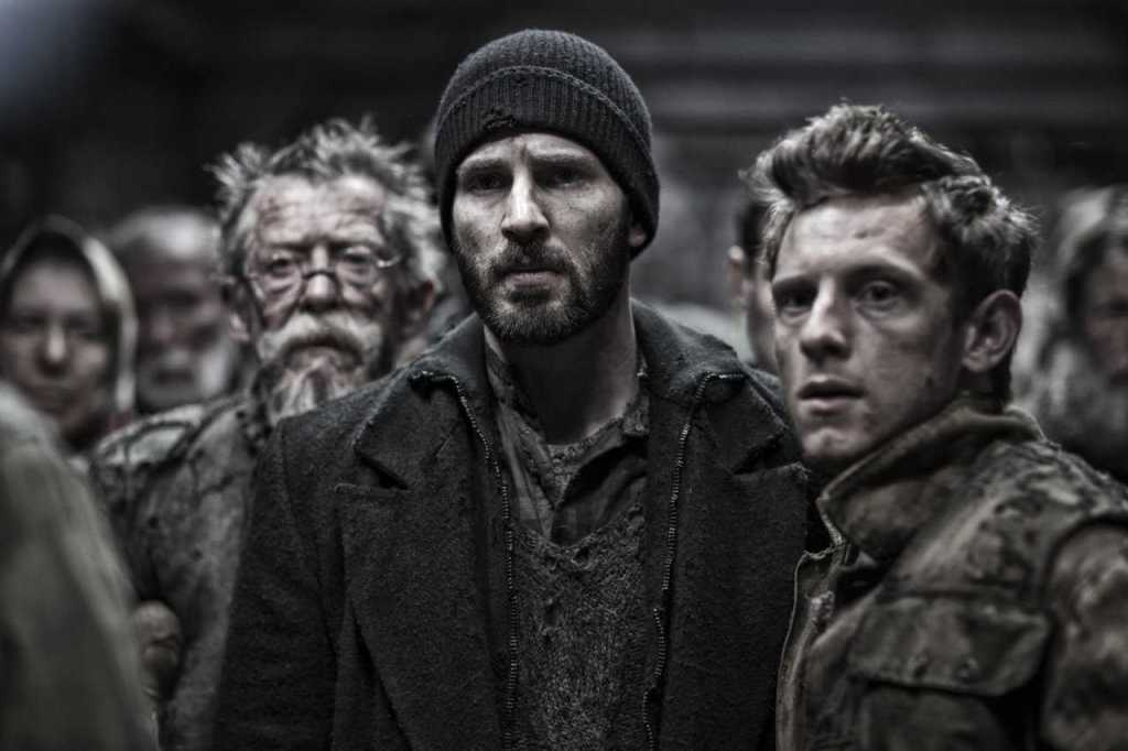 Jonh Hurt, Chris Evans e Jamie Bell in snowpiercer