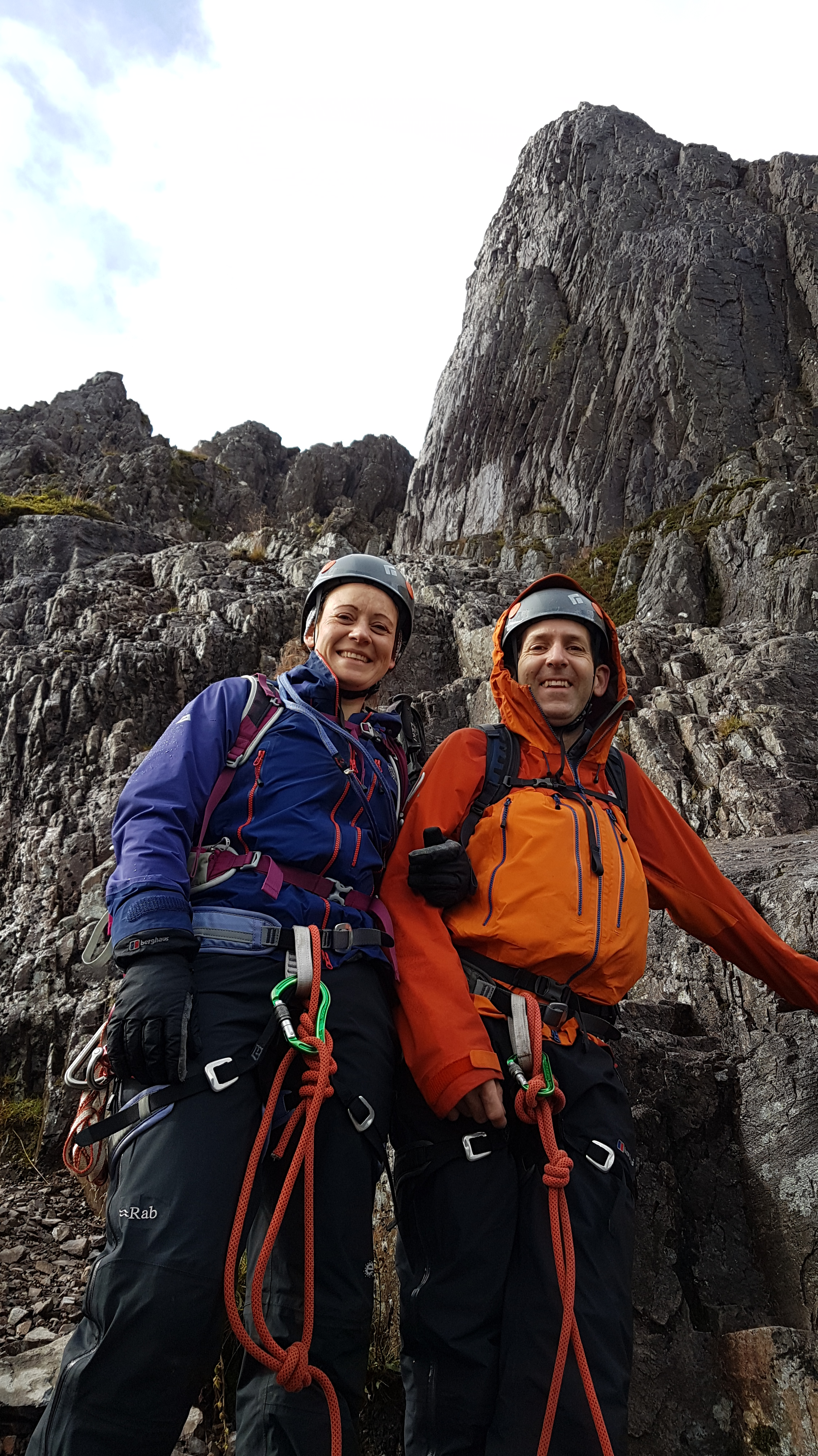 Smiles on Curved  Ridge on a guided ascent with Lochaber Guides