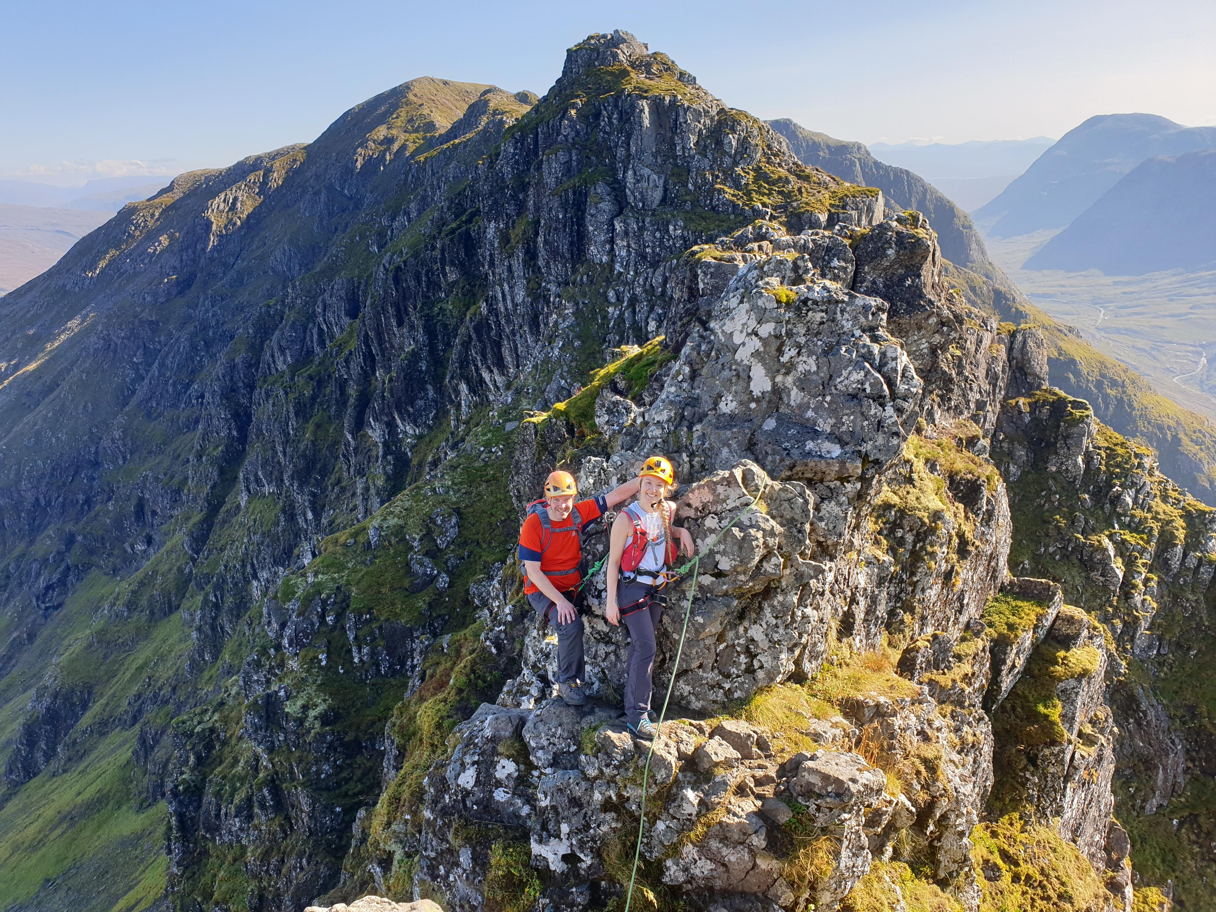 The Pinnacles on a guided scramble along the Aonach Eagach