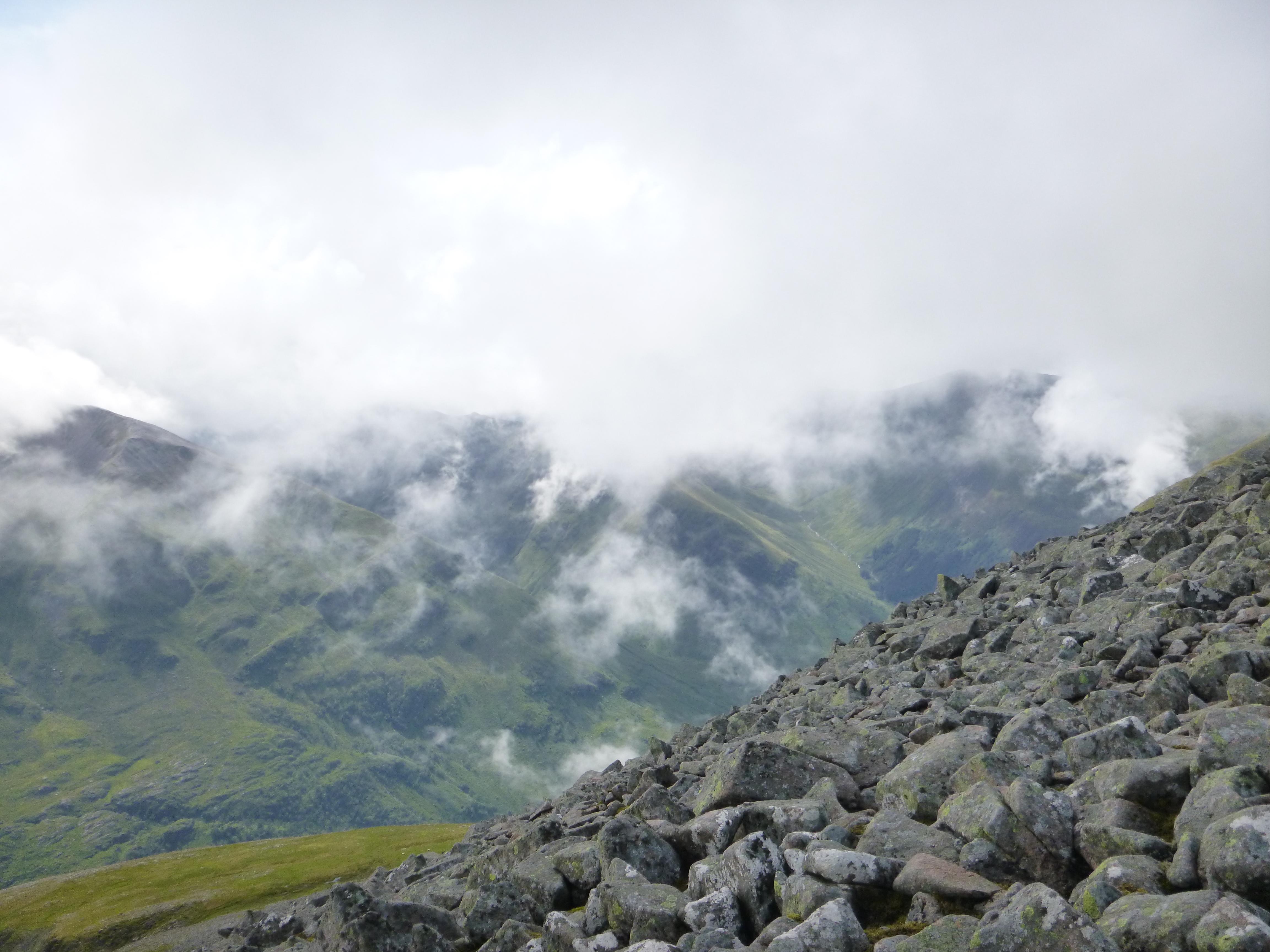 Looking into Glen Nevis from the top of Ben Nevis