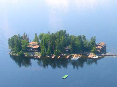 Loch Island Lodge Aerial View - Ontario Fishing