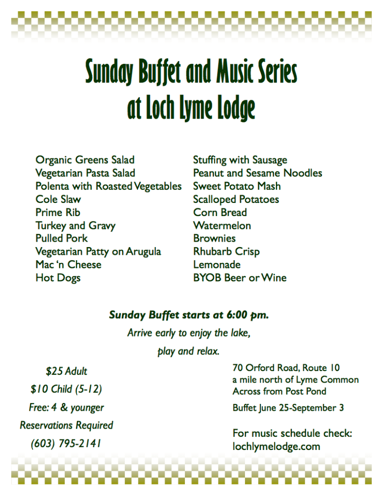 Sunday Buffet Menu