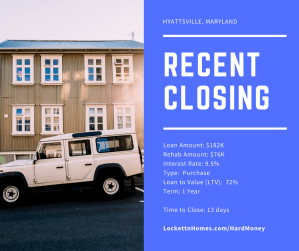 Recent Closing - Hyattsville - 10.16.17