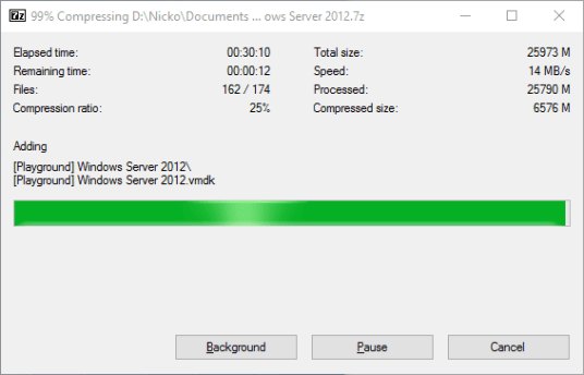 7-zip VM instance compression - Normal