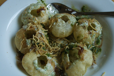 A plate of papdi chaat