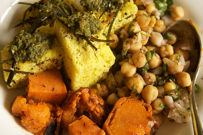 Sweet and spicy yam, chickpea salsa and lentil cake chaat