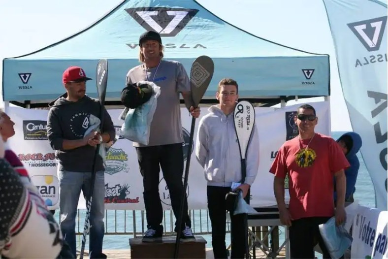 Christophe Verger on podium for SUP Surfing in France