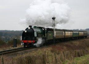 2013 Great Spring Steam Gala - Watercress Line - Approaching Ropley - N15 King Arthur class - 777 - Sir Lamiel
