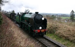 2013 Great Spring Steam Gala - Watercress Line - Departing Ropley - T9 class 30120 & Southern Schools V 925 Cheltenham
