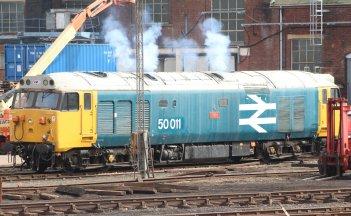 Eastleigh - April 2014 - Class 50 - 50011 Hood clag
