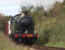 2014 Autumn Steam Gala Watercress Line - Approaching Ropley - GWR 42xx 2-8-0T 4270 freight train