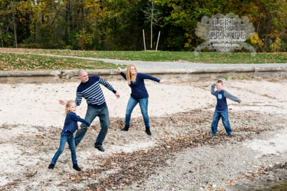 family skipping stones