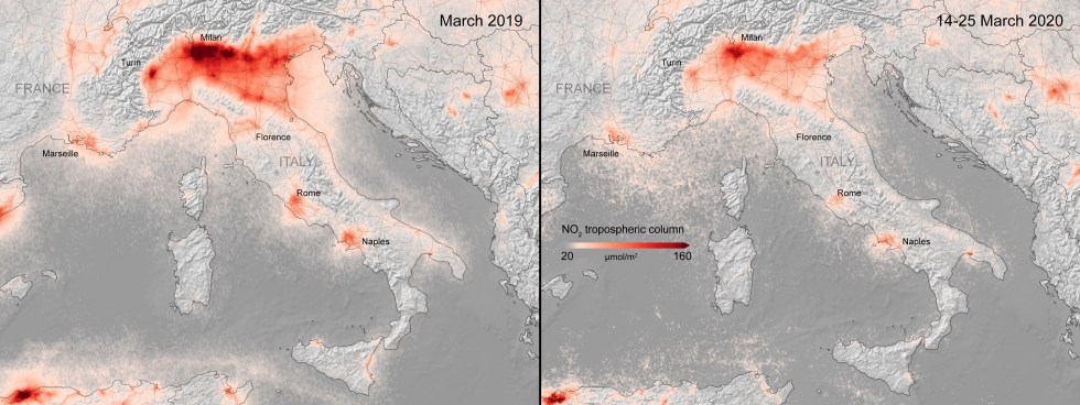 Nitrogen dioxide levels over Italy, captured by Copernicus SENTINEL-5 during the coronavirus lockdown.