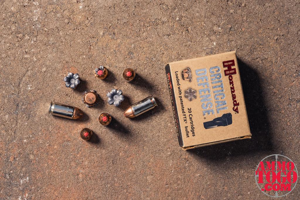 A box of Hornady Critical Defense 185-grain HP ammunition outside