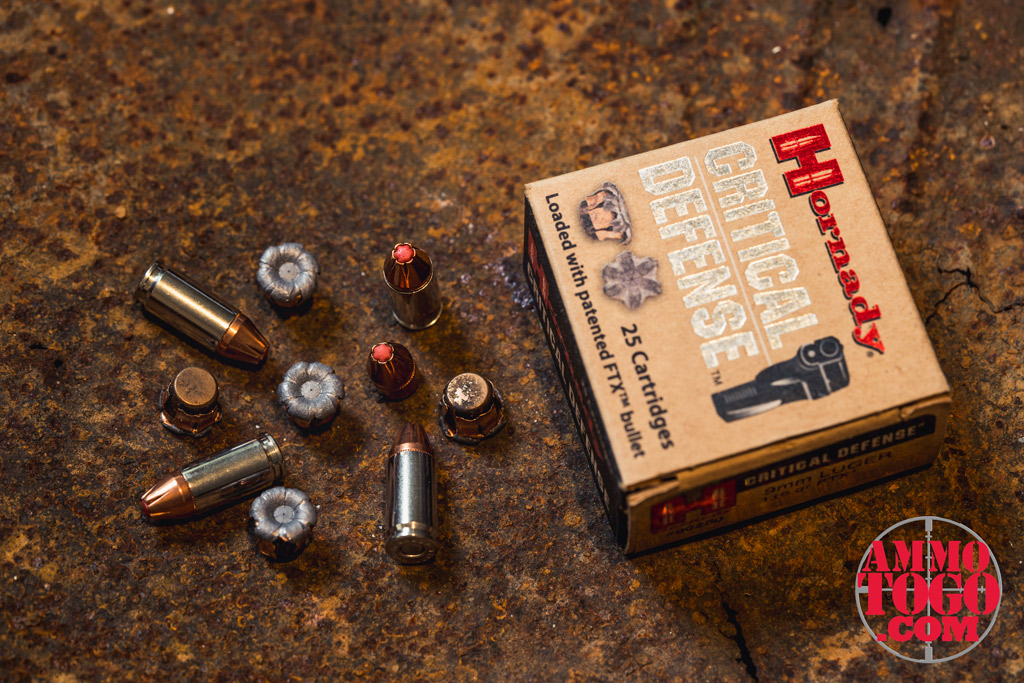 photo of hornady 9mm ammo sitting on rusty ammo