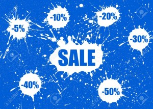 Vector Sale Banner over white paint blot background.