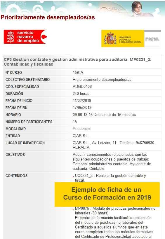 Ejemplo de ficha de Curso de Formación en Navarra 2019