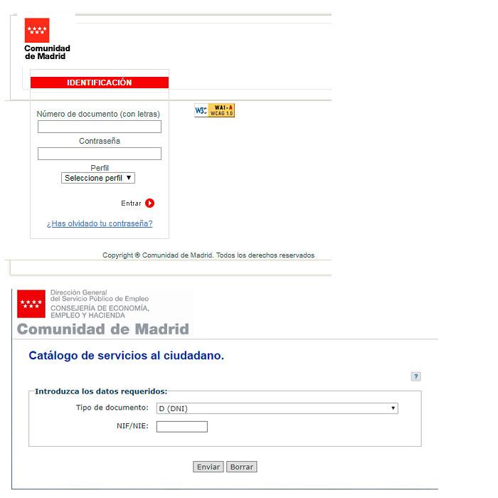 Identificación para sellar el paro por Internet en Madrid