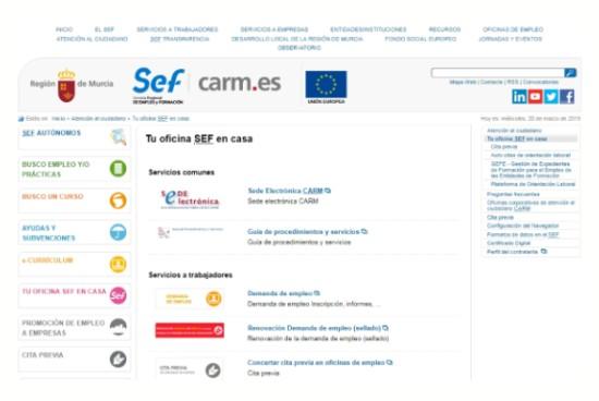 Cómo sellar el paro por internet en Murcia
