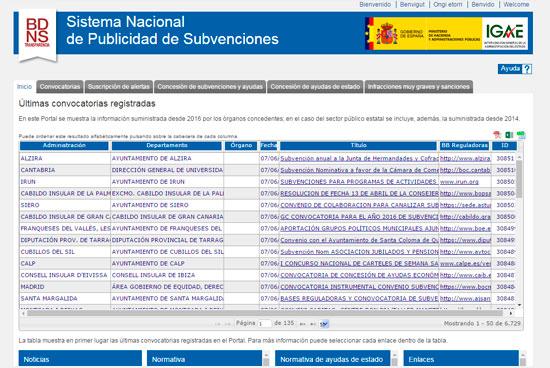 Portal web de las subvenciones y ayudas públicas