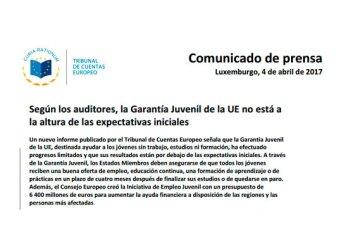 Informe del Tribunal de Cuentas Europeo sobre garantía juvenil