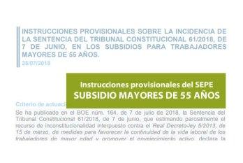 Instrucciones SEPE subsidio mayores 55