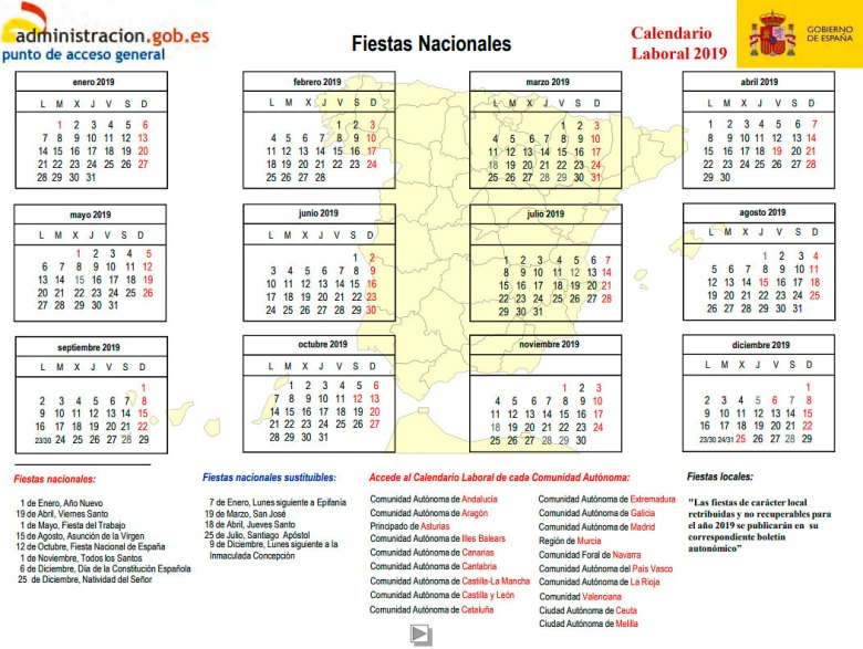 Calendario laboral 2019 españa