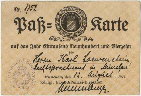 Loewenstein's Bavarian pass (stamped), issued August 12, 1914