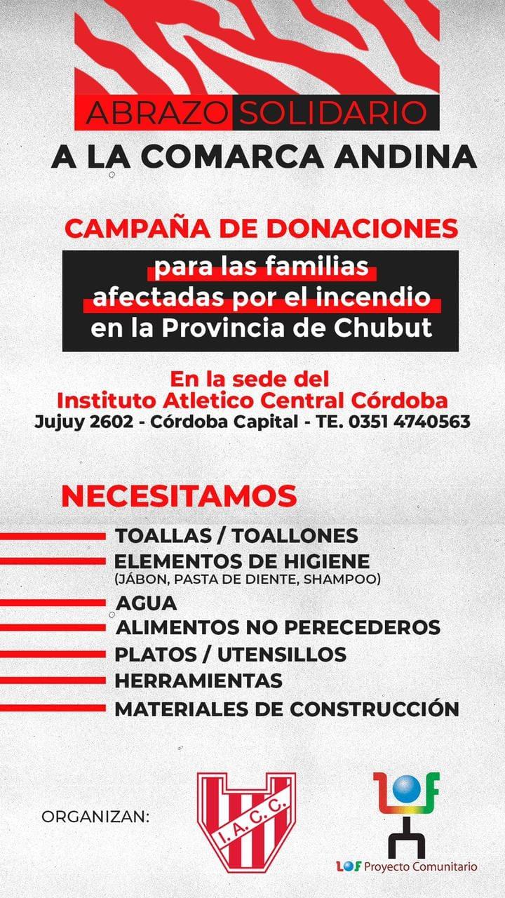 Campaña Solidaria para los afectados por los incendios en la Comarca Andina del Paralelo 42