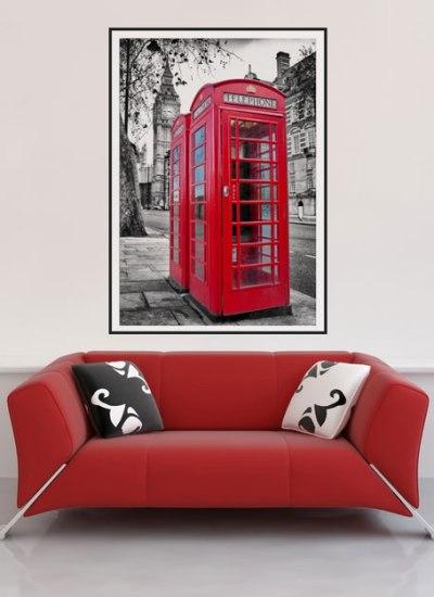 duży plakat czerwono czarny londyn