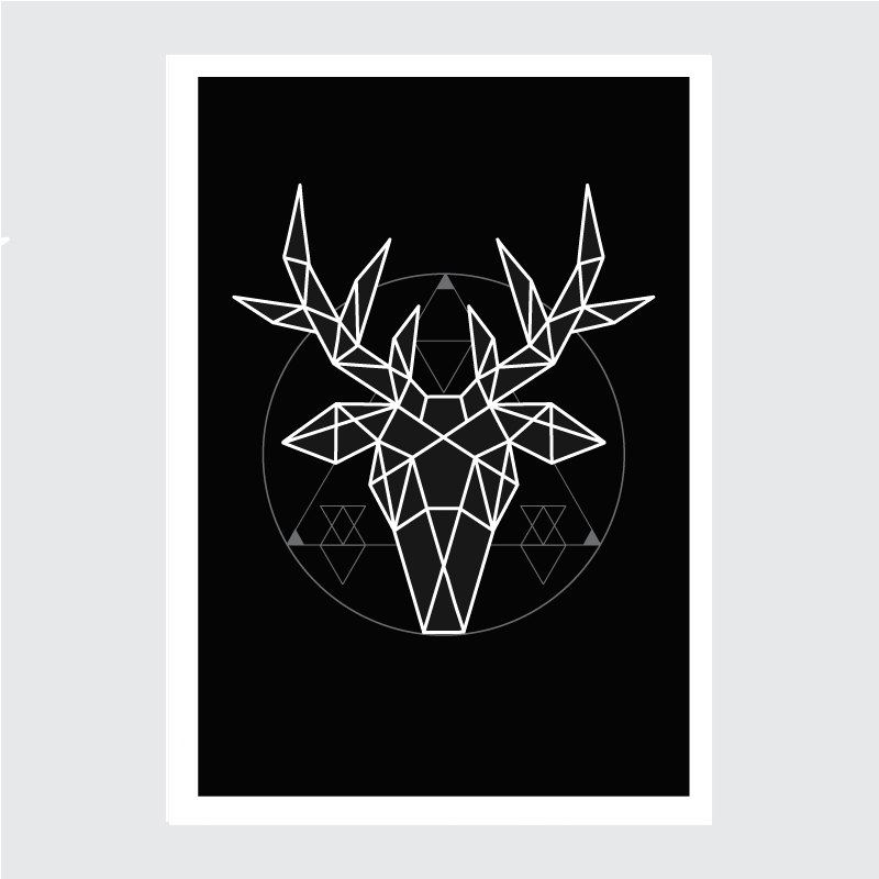 Geometryczny Jeleń Plakat