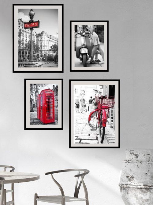 Plakaty miejskie 4 plakaty Stolice Europy w ramkach