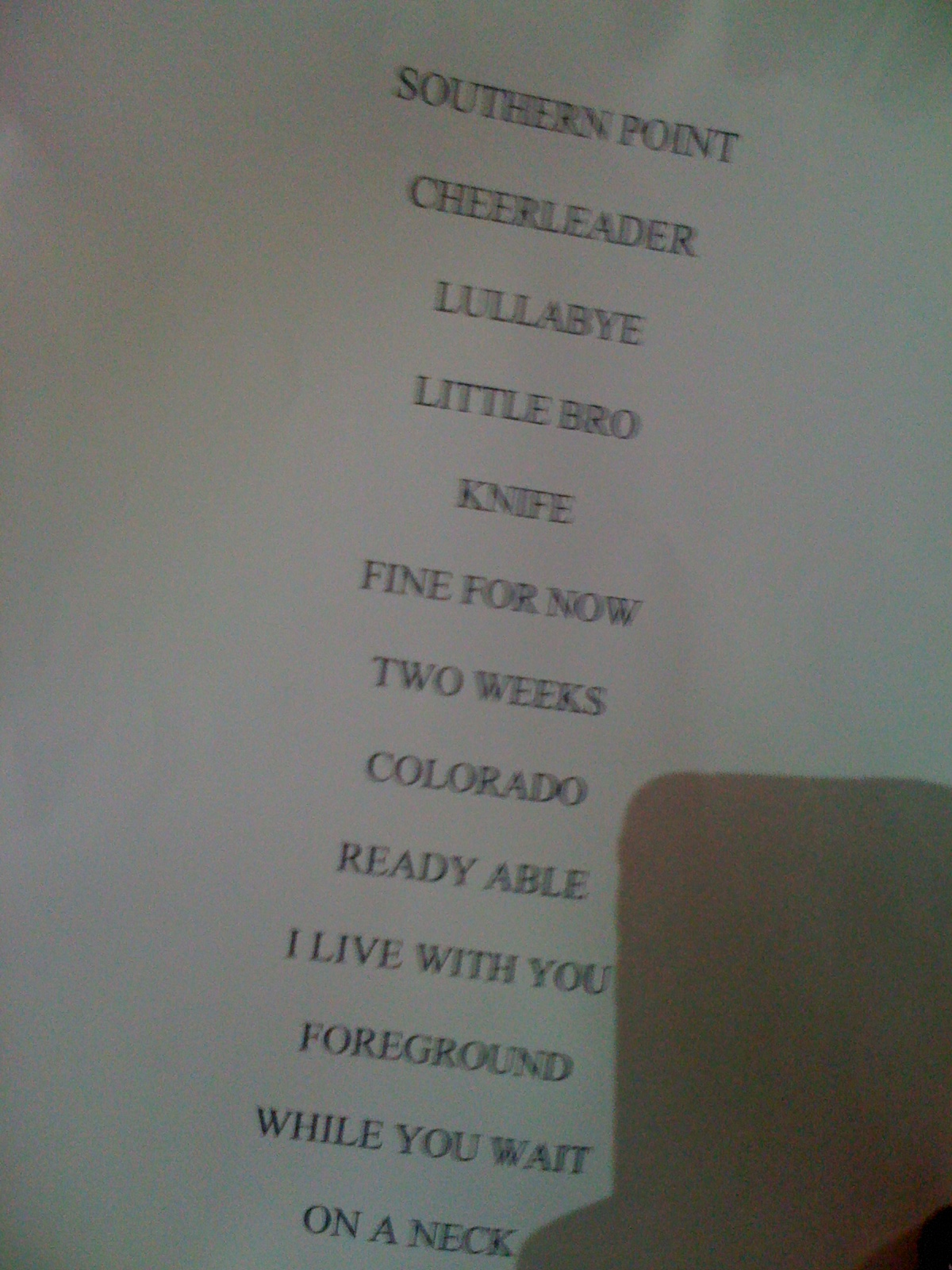 Grizzly Set List